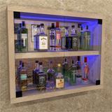 Barzinho Suspenso Tipo Cristaleira, com Iluminação RGB espelho e porta de vidro - Bar28 - Camarim móveis
