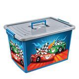 Bau container caixa organizador infantil de brinquedos, roupas e utilidades grande 50 lts carros com - Arqplast