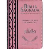 Bíblia Sagrada Jumbo com Zíper - Rosa - Casa publicadora paulista