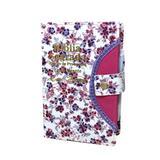 Bíblia Sagrada Letra Gigante - Floral Branco - Botão e Caneta Revista e Corrigida - 14x21cm - Kings Cross