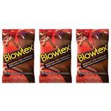 Blowtex Preservativo Sabor e Aroma Morango C/Chocolate C/3 (Kit C/03)