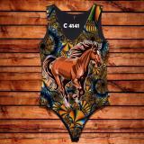 Body Feminina Desenho Cavalo Marrom C4141 - Oba country