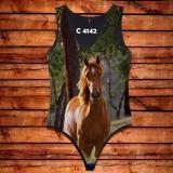 Body Feminina Desenho Cavalo Marrom Paisagem C4142 - Oba country