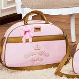 Bolsa de Maternidade Personalizada Realeza Rosa/Dourado G - Talismã