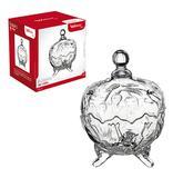 Bomboniere / baleiro de vidro rosas com pe e tampa 18,5x14cm de ø na caixa - Wellmix