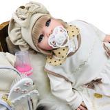 Boneca Bebê Reborn Princesa Loira Roupa Creme 53cm - Bebe reborn baby