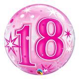 Bubble 22 polegadas - 18 anos explosão de estrelas e brilho rosa - qualatex