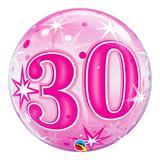 Bubble 22 polegadas - 30 anos explosão de estrelas e brilho rosa - qualatex