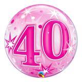 Bubble 22 polegadas - 40 anos explosão de estrelas e brilho rosa - qualatex