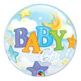 Bubble 22 polegadas - bebê menino com lua e estrelas - qualatex