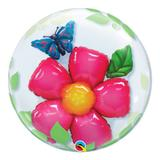 Bubble duplo 24 polegadas - flor e borboleta - qualatex