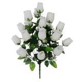 Buquê Artificial Rosa Botão Grande Branca 56 cm - Flor arte