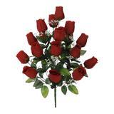 Buquê Artificial Rosa Botão Grande Vermelha 56 cm - Flor arte