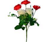Buquê Artificial Rosa Vermelha e Branca 35 cm - Kasacia