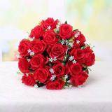 Buquê Galho 24 Rosas Vermelhas Artificiais Arranjo Enfeite Festa Casamento - Joy