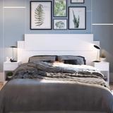 Cabeceira Casal com 2 Criados Mudos Dormitórios Decibal Branco