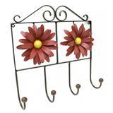 Cabide de Quarto para Roupa de Ferro com Flores Artesanais Rustico de Lata - Libertas rosas artesanato