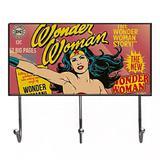 Cabideiro de Vidro com 3 Ganchos - DC Comics - Mulher Maravilha - 40x23x7,5cm - Rosa - Metrópole