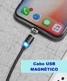 Cabo USB Magnético Lightning para iPhone e iPad em Nylon Preto - Raxfly