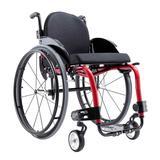 Cadeira de Rodas Monobloco M3 Premium Ortobras Alumínio Peso Leve com Encosto Rígido Hummel vermelho 40cm