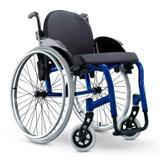 Cadeira de Rodas Monobloco Star Lite Ortobras Alumínio com Encosto Rígido Hummel Anatômico Peso Leve azul caneta 38x40
