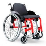 Cadeira de Rodas Monobloco Star Lite Ortobras Alumínio com Encosto Rígido Hummel Anatômico Peso Leve vermelho 42x45