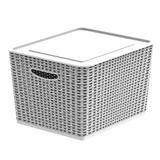 Caixa Cesto Organizador com tampa 17L - Branco G - Soprano