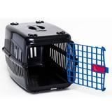 Caixa De Transporte Cachorro Gatos Preta Porta Azul N2 - Rb