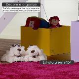Caixa Organizadora para Quarto Infantil em MDF - Amarelo - Casatema