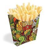 Caixinha Embalagem Para Batata Frita e Salgados Verde 100un - Pdv print