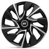 Calota Esportiva DS4 Aro 14 Black Silver Encaixe Universal - Elitte