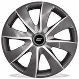 Calota Esportiva Prime Aro 14 Graphite Silver Encaixe Universal - Elitte