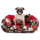 Cama Pet Cachorro Gato Dupla Face Lola - G - Caveiras Vermelho - Senhor bicho