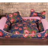 Cama Pet Grande Deccoralle - Floral Azul - Comfort pet