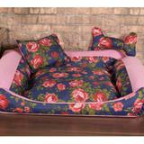 Cama Pet Pequena Deccoralle - Floral Azul - Comfort pet