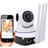 Câmera Ip Sem Fio 360 3 Antenas Hd Wifi Rj45 Visão Noturna Alarme - Jortan