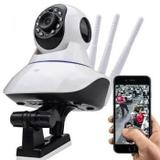 Câmera IP Sem Fio 360 3 Antenas HD WiFi RJ45 Visão Noturna Alarme - Luatek