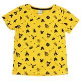 Camiseta Manga Curta em Meia Malhada - Amarela - Floresta Mickey - Disney