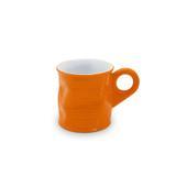 Caneca cafezinho espresso lata amassada de cerâmica mondoceram gourmet 70ml- laranja