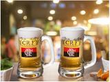 Caneca de Chopp/Cerveja de Vidro 355ml Globimport - Flamengo Scandinávia CRF 2 Peças