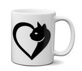 Caneca Gato em forma de Coração - Custom21