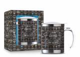 Caneca plástica inox temas new - menu coffee - Brasfoot
