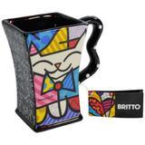 Caneca Quadrada Romero Britto Gato - Ceramica - 12cm x 13cm x 9cm - Trevisan Concept
