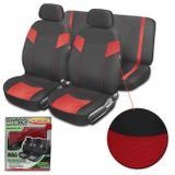 Capa Banco Automotivo Luxcar Premium Universal Tecido Poliéster Preto com Vermelho 6 Peças