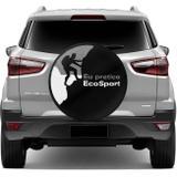 Capa De Estepe Ecosport 2003 A 2018 Eu Pratico Ecosport Preto Cinza E Branco Com Elástico - Flash tapetes