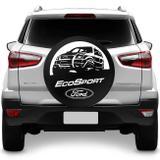 Capa De Estepe Ecosport 2003 A 2018 Ford Preto E Branco Com Cadeado - Splody