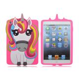 Capa Ipad Mini 1 2 3 Apple Traseira de Silicone Unicórnio 3D Rosa (Unicorn rainbow) - Impacto