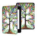 Capa Novo Kindle 10ª geração com iluminação embutida - Auto hibernação - Fechamento magnético - Árvore Florida - Fullmosa