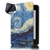 Capa Novo Kindle Paperwhite à Prova D'água WB - Ultra Leve Auto Hibernação Sensor Magnético Silicone Flexível Van Gogh