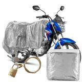 Capa Para Cobrir Moto Carrhel Impermeável Com Forro e Cadeado Tamanho P Biz Titan Fan Yes Kansas Ybr